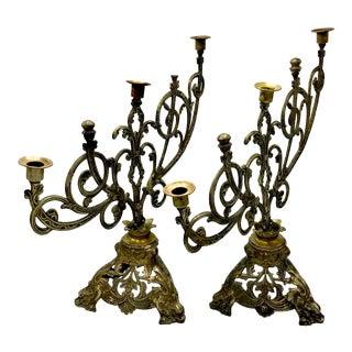 Antique 5 Arm Gothic Revival Altar Candelabras - A Pair