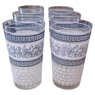 MCM Greek Key Glasses - Set of 6