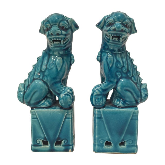 Turquoise Vintage Foo Dogs - A Pair - Image 1 of 9