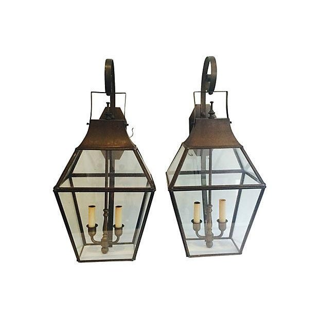Brass Outdoor French-Style Lanterns - A Pair - Image 1 of 4