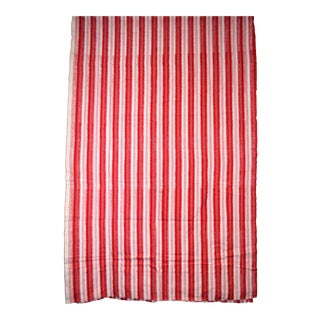 Red & White Striped Cotton Fabric Hand Woven IKAT 4 yards