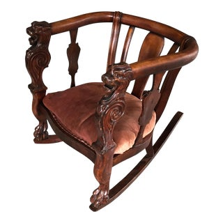 19th Century Carved Lion Rocking Chair