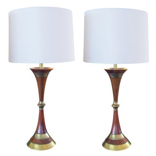 A Shapely Pair of Danish Mid-Century Walnut & Brass Hour-Glass Shaped Lamps