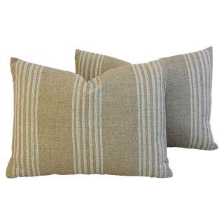 Custom Tan & White French Ticking Feather/Down Pillows - Pair