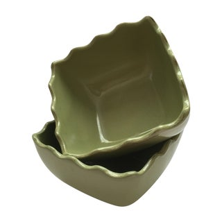 Scalloped Green Stoneware Bowls - Pair