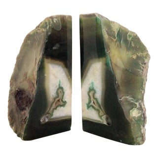 Emerald Green Geode Agate Bookends - A Pair