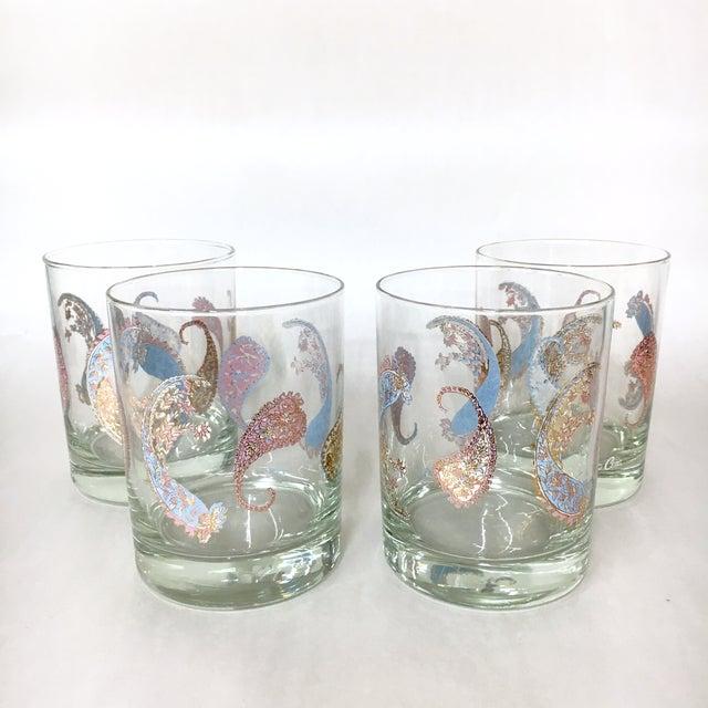 Vintage Cera Pastel Paisley Rocks Glasses - Set of 4 - Image 2 of 5