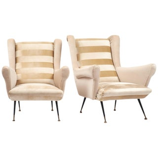Italian Mid-Century Modern Striped Velvet Armchairs - a Pair