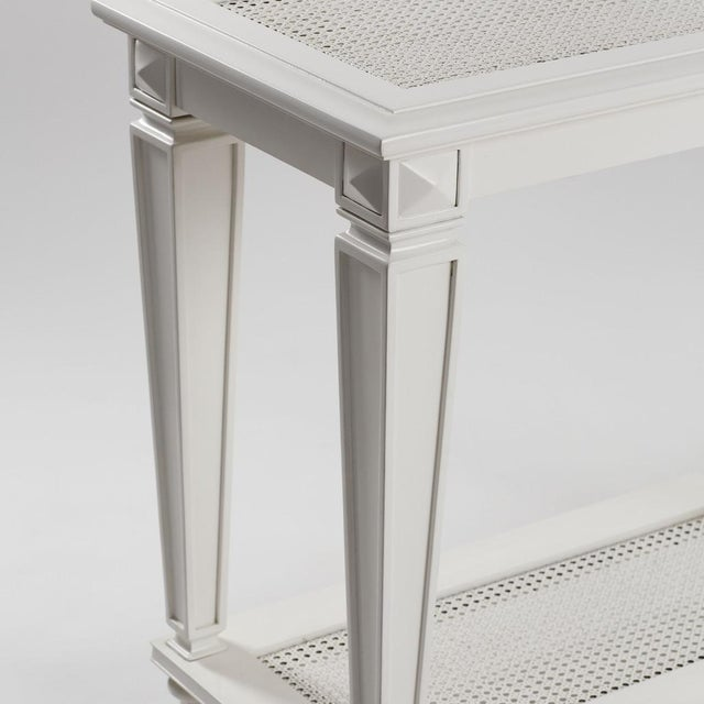 New White Caned Console Table - Image 5 of 5