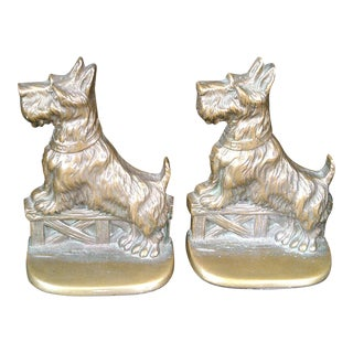 Solid Bronze Scottie Bookends - A Pair