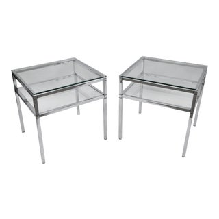 Mid-Century Modern Chrome & Glass Two Tier End Tables - A Pair