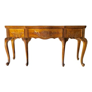 Hekman French Country Sideboard W/ Burled Wood Top & Wood Carvings