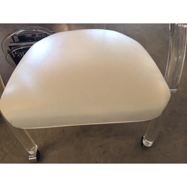 Image of Set of Four Charles Hollis Jones Lucite and White Leatherette Armchairs