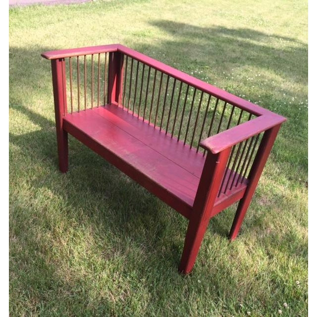 Spindle-Back Red Bench - Image 3 of 11