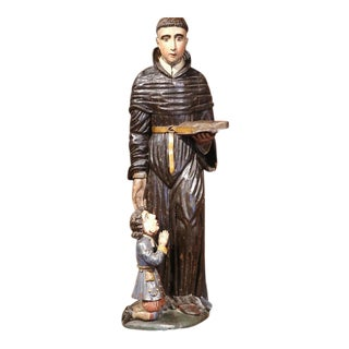17th Century Italian Polychrome Carved Statue of Saint Nicholas in Cassock