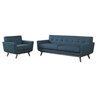 LexMod Mid-Century Modern Sofa & Chair Set - Pair