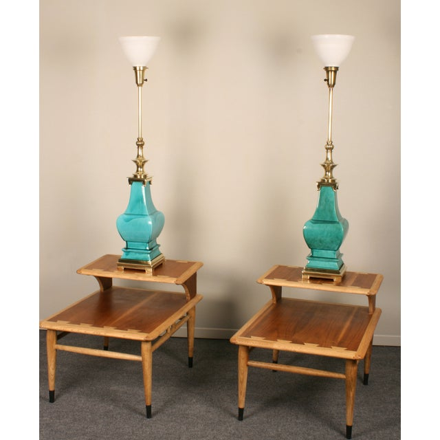 Stiffel Porcelain and Brass Lamps - A Pair - Image 4 of 8