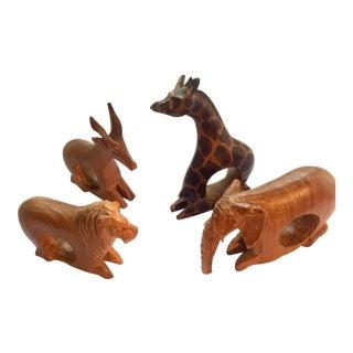 Hand-Carved African Safari Animal Napkin Rings - Set of 4