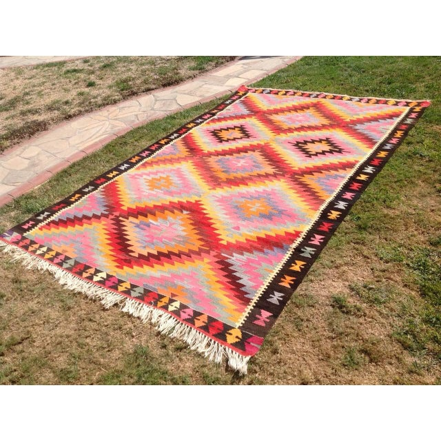 "Vintage Turkish Kilim Rug - 6'4"" X 9'10"" - Image 3 of 6"