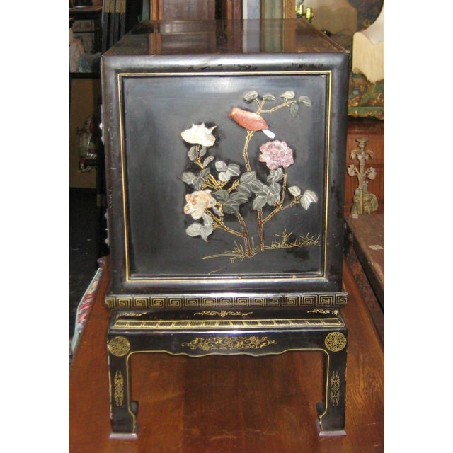 Chinese Black Lacquer Hard Stone Cabinet - Image 3 of 5