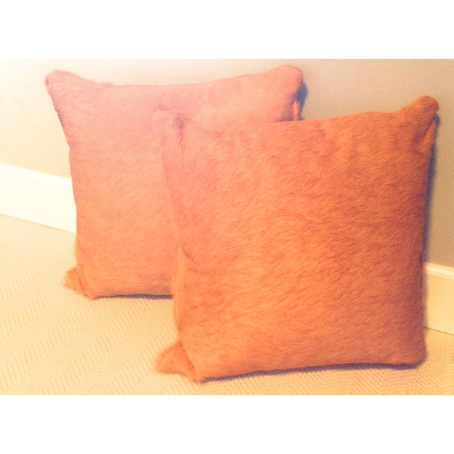 Image of Orange Cowhide Pillows - A Pair