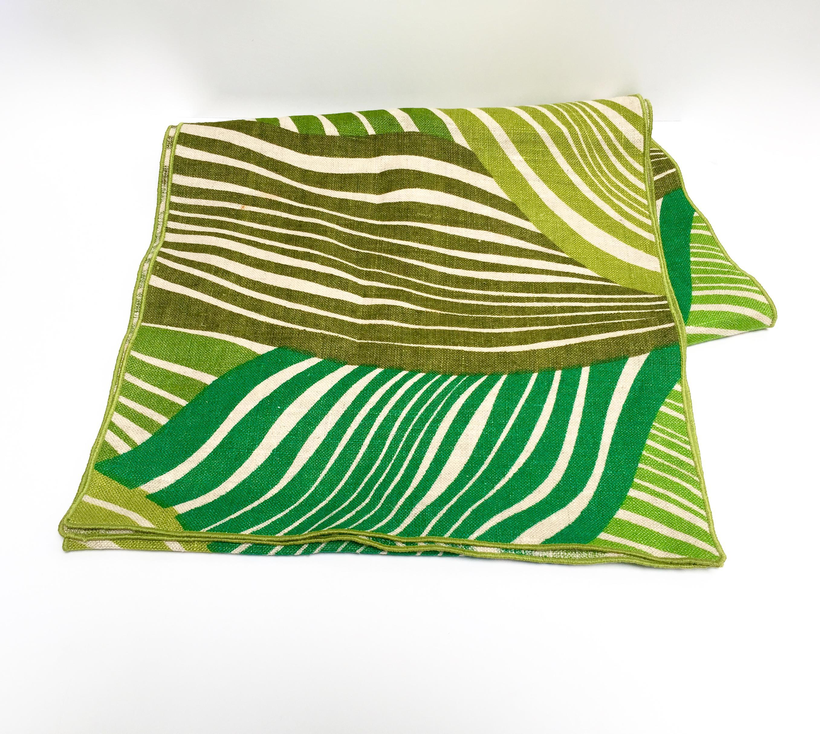 Retro Tropical Green Linen Table Runner   Image 2 Of 7