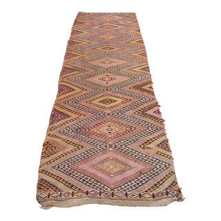Vintage Turkish Kilim Rug -2′9″ × 11′2″