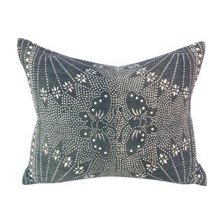 Vintage Gray Batik Pillow with Butterflies