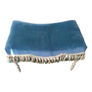 French Carved and Painted Stool Bench With Tassels