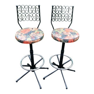 Arthur Umanoff Wrought Iron Swivel Bar Stools - A Pair