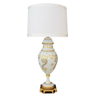 An American Blanc de Chine Porcelain Lamp, labled 'Marbro Lamp Co., Los Angeles'