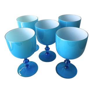 Carlo Moretti Turquoise Cased Glass Goblets - Set of 5
