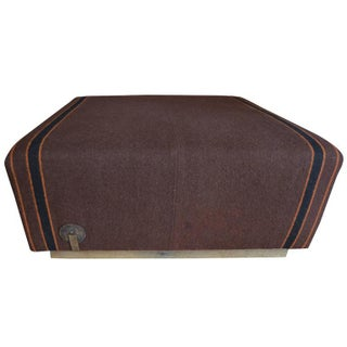 19th Century Wool Horse Blanket Upholstered Ottoman