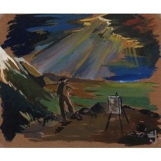 Vintage 1940s Plein Air Painter Painting