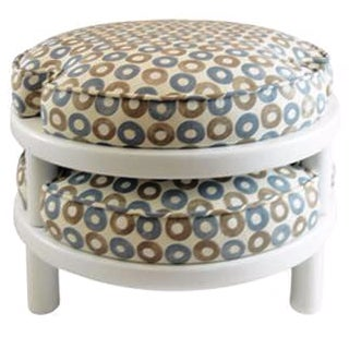 Blue & Grey Stackable Stools - Set of 2