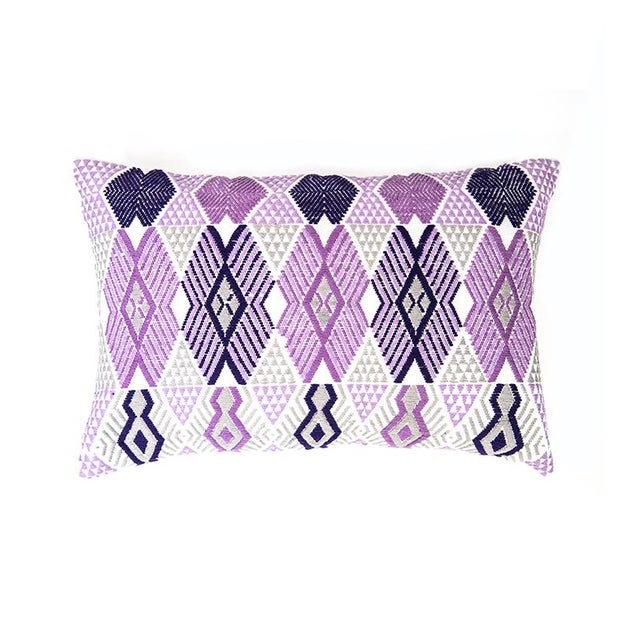 Handwoven Purple & Grey Guatemalan Pillow - Image 1 of 7
