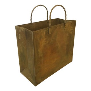 Brass Shopping Bag Trash Bin/Magazine Holder