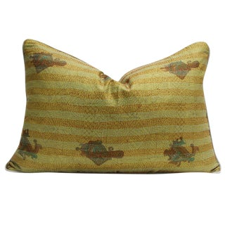 Goldenrod Bengal Silk Kantha Pillow