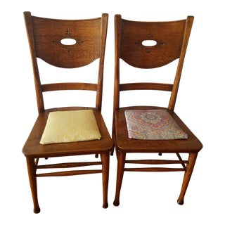 Vintage Drop-In Seat Side Accent Chairs - A Pair