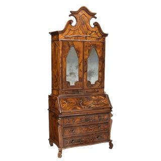 Italian Antique Burl Wood Secretary Desk & Bookcase