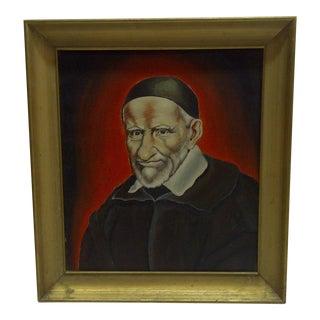 """Circa 1940 """"St Vincent De Paul"""" Original Painting on Canvas"""