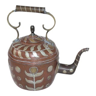 Early 19th Century Spanish Decorated Copper Gooseneck Kettle Pot