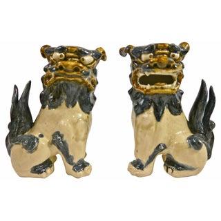 Dark Blue Drip Glaze Ceramic Foo Dogs - A Pair