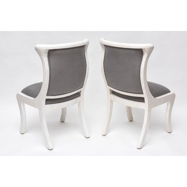 Tesselated Bone and Linen Side Chairs - Image 9 of 10