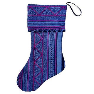 Vintage Batik & Embroidery Christmas Stocking