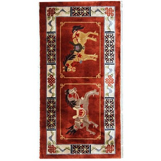 1980s handmade vintage silk Chinese Art Deco rug 1.6' x 3'