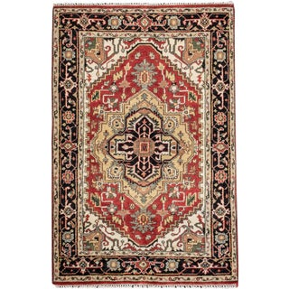 "Serapi Red & Tan Wool Rug- 4'1"" x 6'1"""
