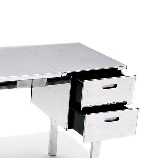 Polished Aluminum Folding Campaign Desk - Image 3 of 4