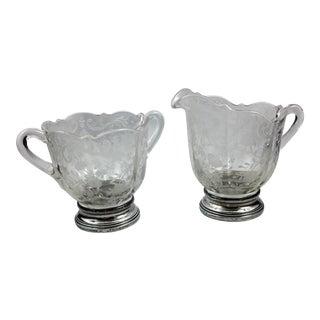 Cambridge Glass Sugar & Creamer W/ Sterling Base