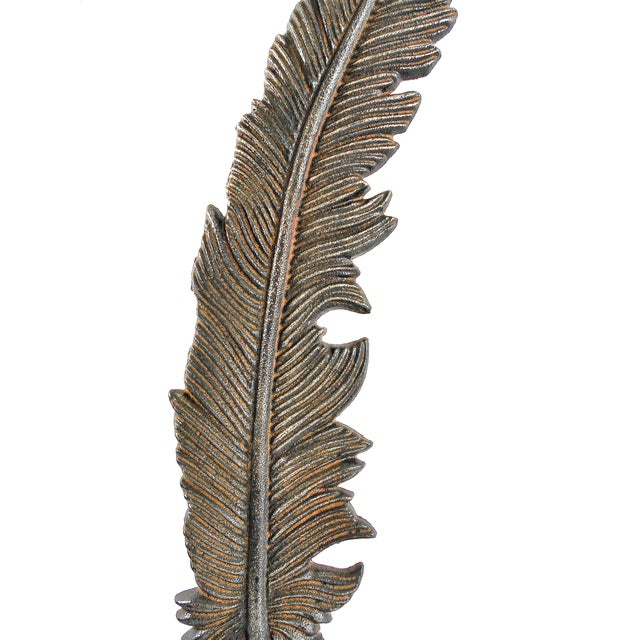 Image of Metal Feather on Wood Block Pedestal Sculpture